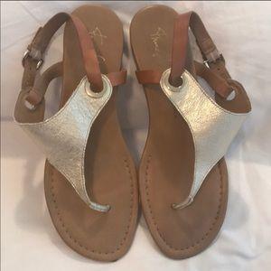Franco Sarto Metallic Gold Leather Flat Sandals